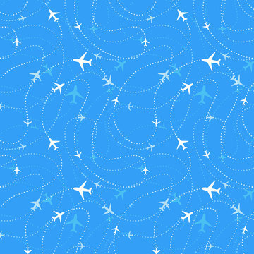 Airline routes with planes in blue skies, seamless pattern