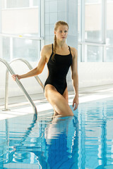 Attractive woman swimmer