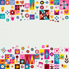 hearts, stars and flowers abstract art background design elements
