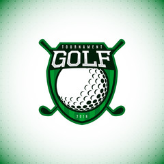 Vector logo of golf championship. Label of golf tournament isolated on white background. Vector illustration.