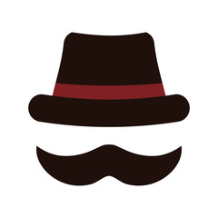 Hat and mustache icon. Hipster style concept, vector graphic
