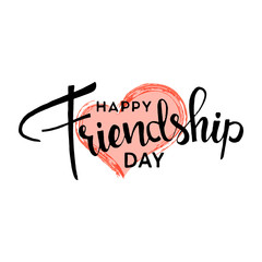 Happy friendship day hand drawn lettering