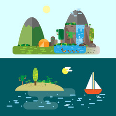 Eco-tourism. Sailing and camping