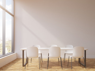 Rectangular table in conference room
