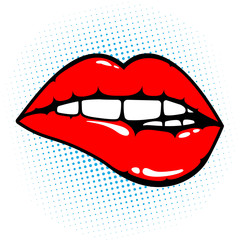 Woman red lips biting on pop art background. Vector illustration