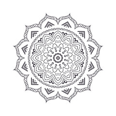 Hand drawn flower mandala for coloring book. Black and white ethnic henna pattern. Indian, asian, arabic, islamic, ottoman, moroccan motif. Vector illustration.