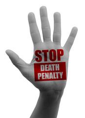 Stop alla pena di morte, bloccare fermare, mano aperta