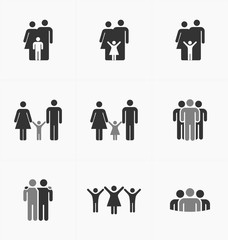 People icons set on white background, silhouette vector. Busines