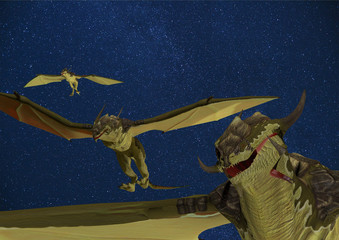 3d rendered illustration of dragons flying in the night