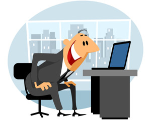 Businessman working at laptop