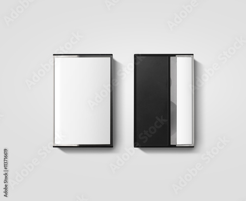 blank cassette tape box design mockup isolated back side view