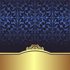 Invite design: blue ornamental Background with golden Border