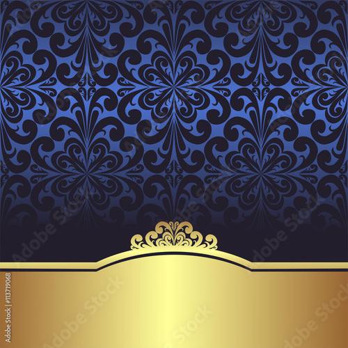 Invite Design Blue Ornamental Background With Golden Border Stock