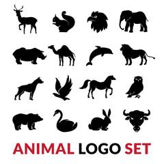 Wild Animals Black Logo Icons Set