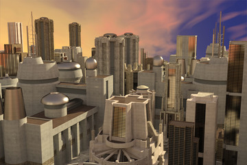 3d CG illustration of abstract big city skyline view from top