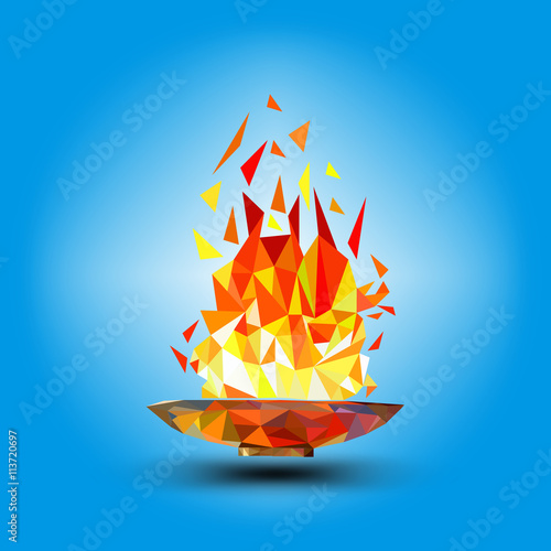 Olympic flame fire polygonal geometric on green - Flamme olympique dessin ...