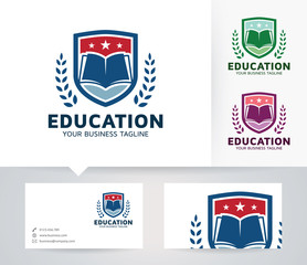 Education vector logo with business card template