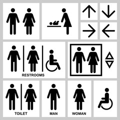 Silhouette Man & Woman public access icons set, vector illustration