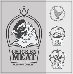 Set of chicken labels, emblems and design elements.