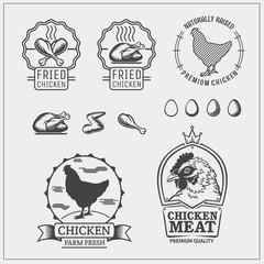 Set of chicken labels, emblems and design elements.