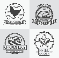 Set of labels and stamps of chicken meat.