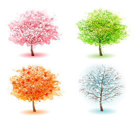 Fototapete - Four stylized trees representing different seasons. Vector.