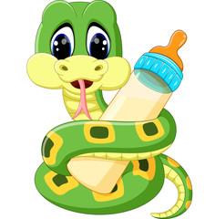 illustration of Cute green snake cartoon