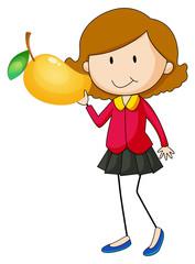 Woman holding mango on one hand
