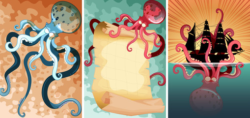 Giant octopus in three different scenes