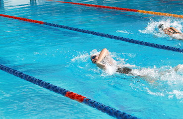 woman swimming competition, forward crawl, rear side view
