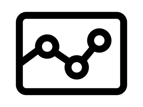 Graph / graphing or data visualization line art icon for apps and websites