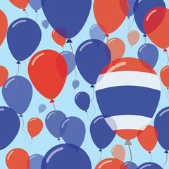 Thailand National Day Flat Seamless Pattern. Flying Celebration Balloons in Colors of Thai Flag. Happy Independence Day Background with Flags and Balloons.