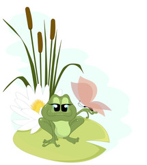 A cute cartoon Frog with a butterfly and a water lily