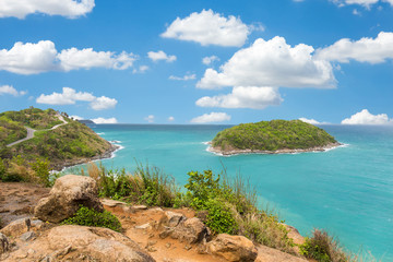 Promthep cape viewpoint at blue sky in Phuket,Thailand in a bright day
