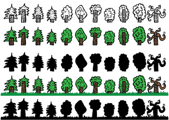 Trees doodle sheet with outline, colored, silhouette and two seamless layers