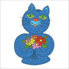 Cartoon blue cat holding in his paws flowers. Birthday card.