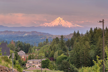 Wall Murals Nepal Mount Hood Evening Alpenglow at Happy Valley