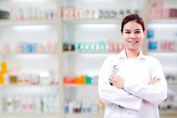 pharmacist chemist and medical doctor woman asia with stethoscop