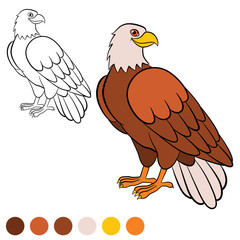 Coloring page. Color me: eagle. Cute eagle sits and smiles.