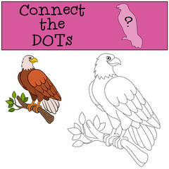 Educational games for kids: Connect the dots. Cute bald eagle smiles
