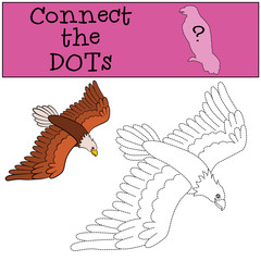 Educational games for kids: Connect the dots. Cute bald eagle flies