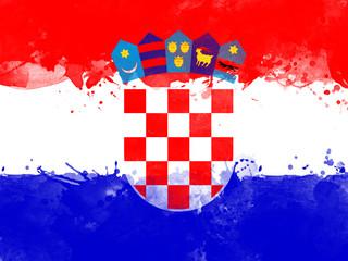flag of Croatia , grunge style