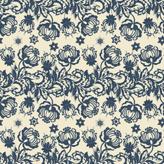 Ethnic floral vector background. Vintage flowers seamless pattern.