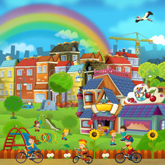 Cartoon scene of a street and park - small town - stage for different usage - children playing in the park - illustration for children