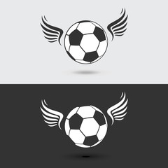 Football soccer ball with wings