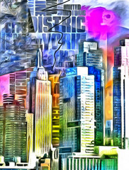 New York City Colorful Abstract Painting