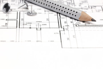 architectural background with technical drawing and pencil