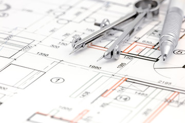 architectural background with floor plan, drawing compass and pe