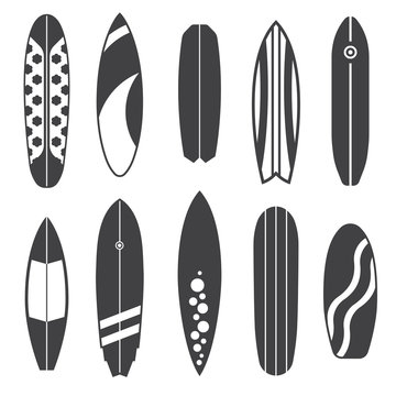 Outline Surfing Board Icons