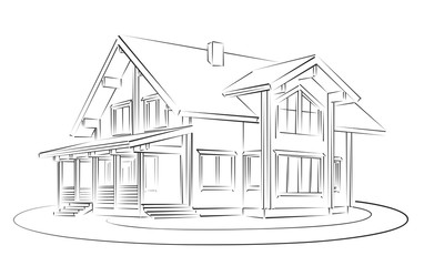 Sketch of wooden house.